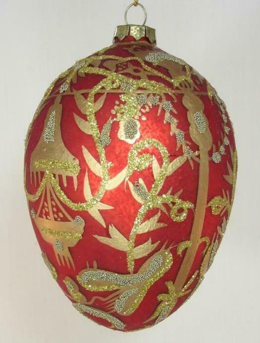 *Large  Imperial Royal Egg Ornament  Elegant Hand Painted Design Golden Accents