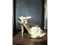 Golden high heels, UK6 EU39