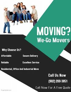 We-Go Movers $65/HR for 2 movers/17ft OR$85/HR for 3movers/26ft