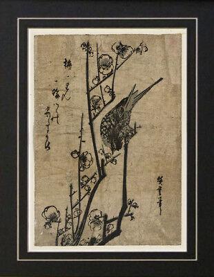 Ando Hiroshige warbler bird painting Japanese Woodcut