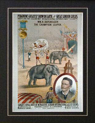 P.T.Barnum Circus Carnival Fair Poster Vintage Acrobat