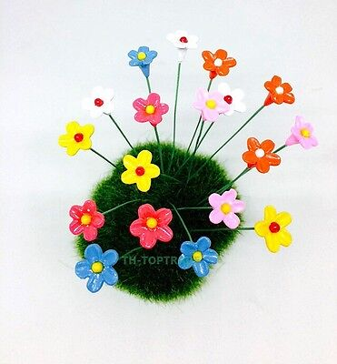 Dollhouse Miniature FAIRY GARDEN Accessories 18 Tiny Multi-color Flowers