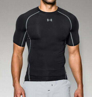 Under Armour Men's HeatGear Armour Short Sleeve Compression Shirt 1257468 Black - Heatgear Short Sleeve Shirt