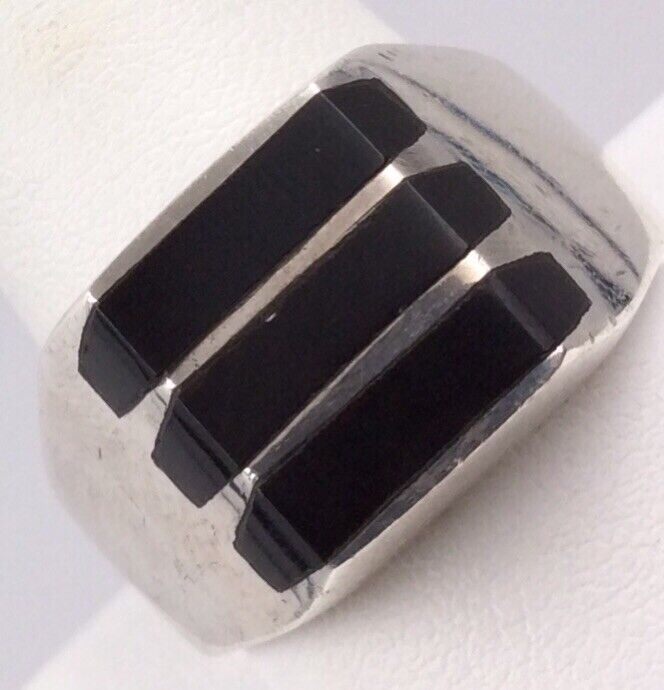 STERLING SILVER TAXCO INLAID BLACK ONYX RING SIZE 12