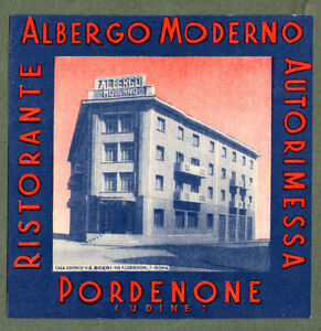 RARE Hotel luggage label ITALY Moderno Pordenone #412