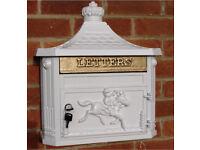 Wall mounted white post box mail box cast aluminium