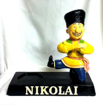 Nikolai vodka bar sign chalkware chalk statue cossackman bottle holder man be9