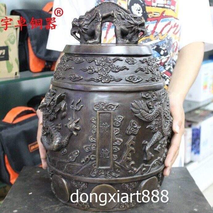 38 cm Chinese Buddhism Pure Bronze Double Dragon Beast Hang Buddha Yellow bell