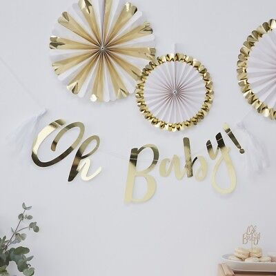 Ob Garland (Baby Shower Party Gold Foiled Oh Baby Bunting Script Garland - Oh Baby!  )