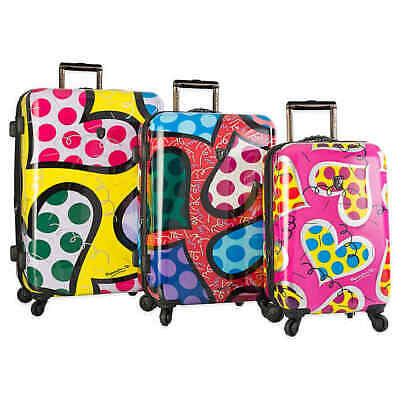 Heys Romero Britto Hearts Carnival 3 Piece Hardside Spinner Luggage Set New *