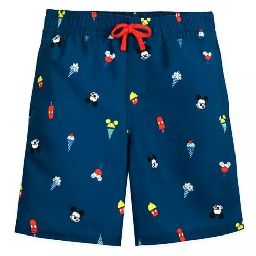 Disney Store Mickey Mouse Summer Fun Navy Swim Trunks Boys Icon Foods Swimsuit