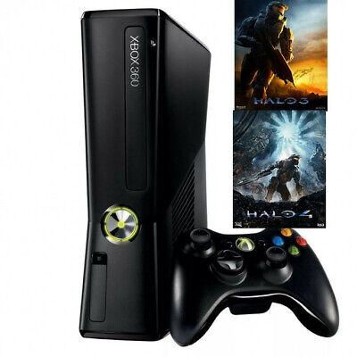 Microsoft Xbox 360 S Black 4GB Console Bundle Halo 3 and 4