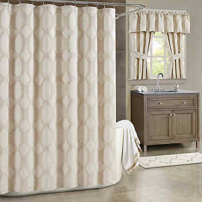 J. Queen New York Soho Shower Curtain Subtle Geometric Chain in Champagne $60