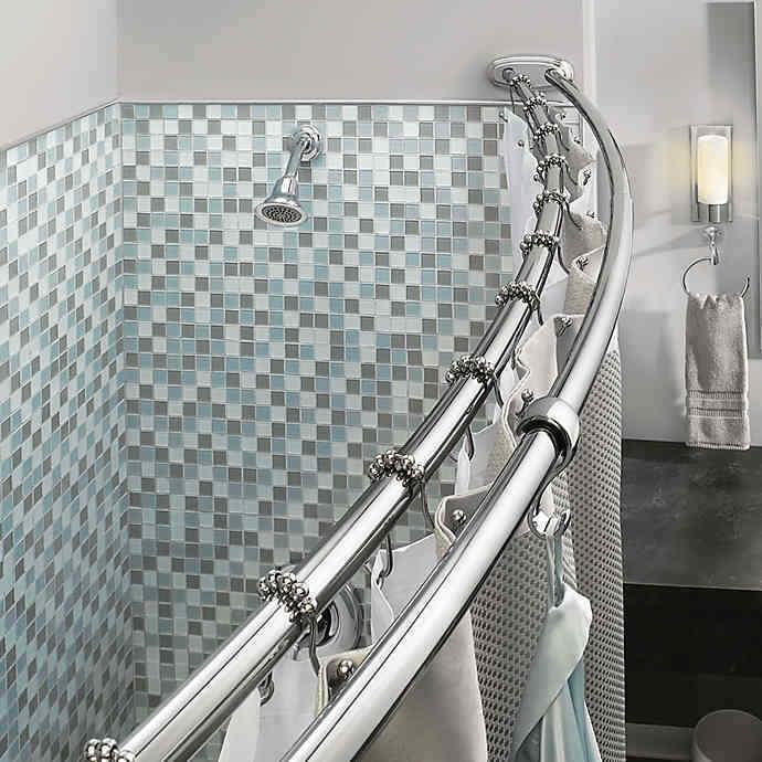 Double Curved Shower Curtain Rod Adjustable Crescent Fixture, Chrome Bath
