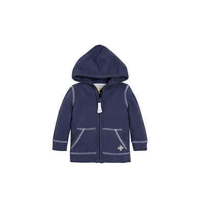 BURT'S BEES BABY BOY- INDIGO BLUE NAVY Pique Hooded Jacket (6-9 or 24 months)