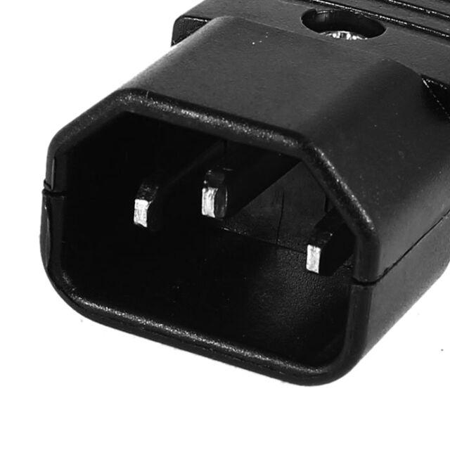 Black IEC-320 C14 Male Plug AC Power Inlet Socket Connector 250V 10A PK