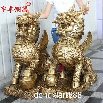 Details about  /Old Chinese handwork brass cooper-plating hand-carved zodiac dragon statue