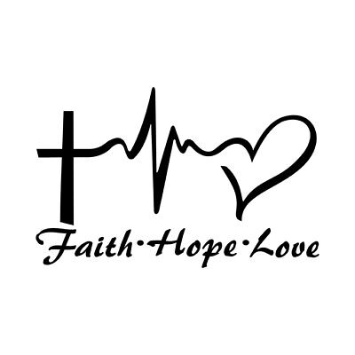 FAITH HOPE LOVE Vinyl Decal Sticker Car Window Bumper Symbol Heart Cross 8