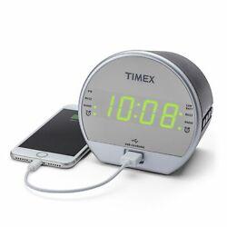 Timex T2352BC Dual Alarm 1-Port USB Clock Radio FM Radio Back Up Battery