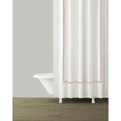Kassatex Shower Curtain 72 x 72 100% Cotton Tivoli White Coral Embroidery New