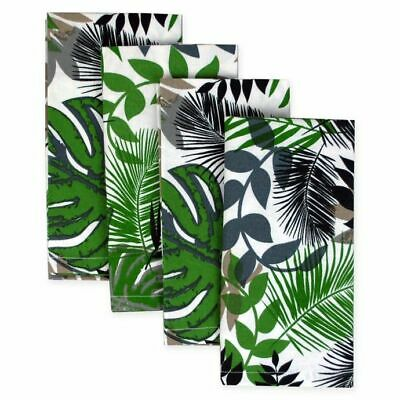 Design Imports Set of 4 Palm Leaf NapkinsTropical Green White Beige Lunch (Palm Leaf Import)