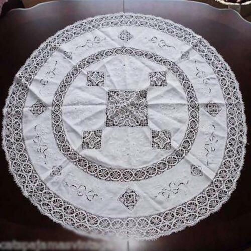 Antique White Linen Round Tablecloth Handmade Cluny Bobbin Lace Provenance Esso