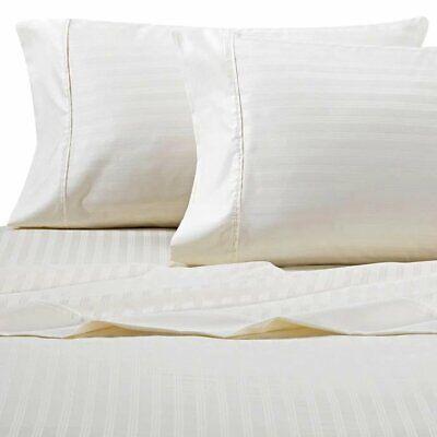 Ivory Damask Stripe - Wamsutta Damask Stripe 500-Thread-Count PimaCott Queen Sheet Set Stripe Ivory
