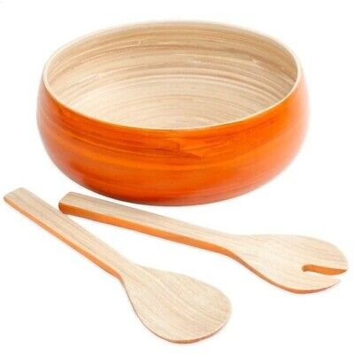 NEW Gibson Overseas 3-Piece Bamboo Salad Set in Orange - Serving, Bowl, - Bamboo Wood Salad Sets