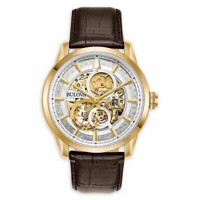 Bulova Men's 97A138 Automatic Sutton Brown Leather Strap Watch 43mm Watch  Automatic Brown Strap Watch