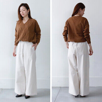 New Siro Japan Made Grey Beige Fine Cord Wide Pants Size L RRP$218+ 70%OFF