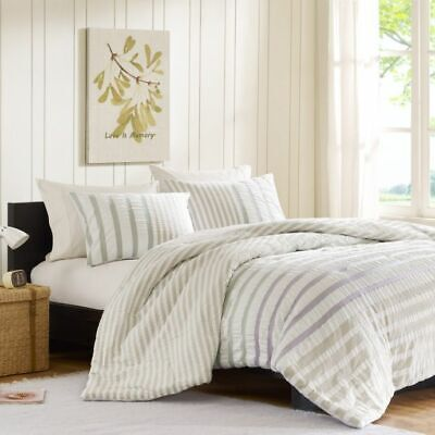Ink+Ivy Sutton Seersucker Stripe 100% Cotton 2 Standard Pillow Covers Shams NWOT