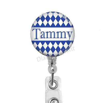 ( Personalized Badge Reel - Navy Blue Badge Holder for RN LVN Xray Computer Tech)