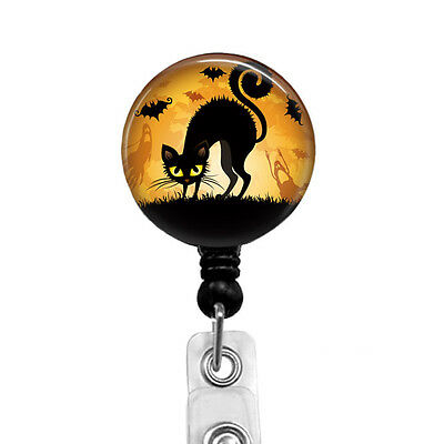 Black Cat Halloween Retractable Badge Reel Spooky ID Badge Holder Name Badges
