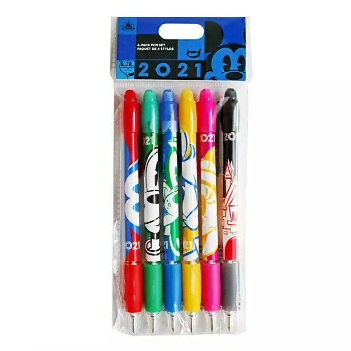 Disney Parks 2021 WDW Mickey & Friends 6 Pack Pen Set Black Ink Characters NEW