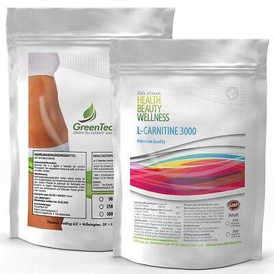 1000 Tablette VEGAN L-Carnitin-3000 + Green Tea (Grün Tee) Fatburner Kur Diät