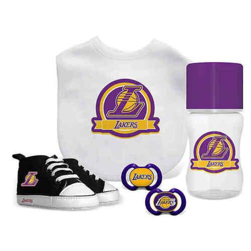 Los Angeles Lakers NBA Licensed 5 Piece Gift Set Shoes 2 Pacifier Bib + Bottle