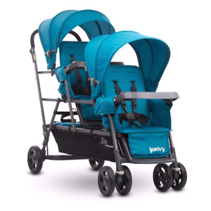 BN Joovy Big Caboose Graphite Stand-On Triple Stroller Turquoise
