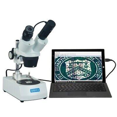 Omax 20x-40x Binocular Stereo Microscope Dual Lights Usb Digital Camera