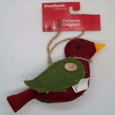 Woodland Christmas Tree Hanging Red Bird Green Burlap Wings Ornament #102