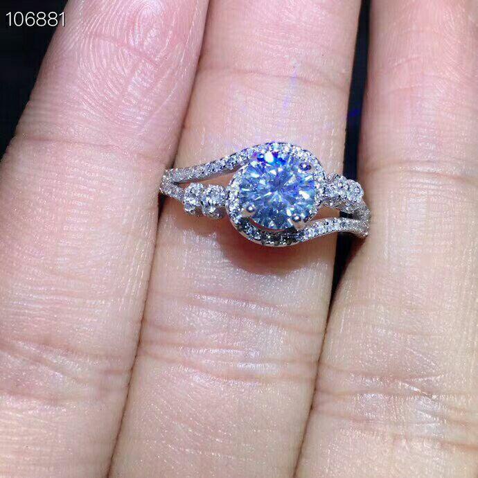 6mm Round Moissanite Engagement Ring For Women 18K White Gol