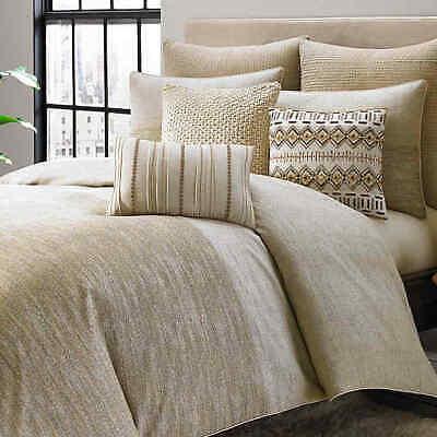 $100 KAS ROOM Amara NEW Gray Beige Metallic TWIN Comforter DUVET COVER ONLY