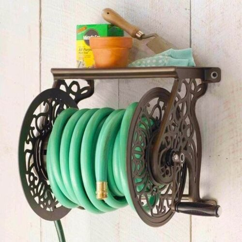 Wall-Mounted Water Hose Reel Storage Roll Up Garden