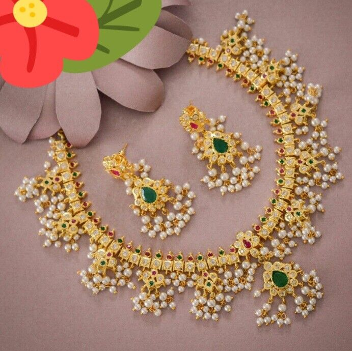 Gold Plated South Indian Kundan Pearl Necklace Earrings Bollywood CZ Jewelry Set