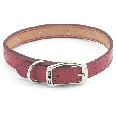 "HAMILTON Diamond Studded Stitched Leather Dog Collar, 18"" x 3/4"", Red"