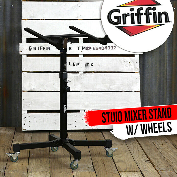 GRIFFIN Studio Music Mixer Stand on Wheels - DJ Recording Gear Cart Table Mount