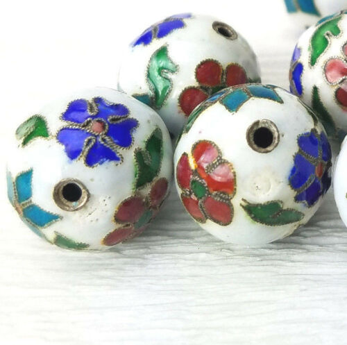 2 Antique White Mixed Color Flowers Cloisonne Chinese Enamel 16mm 2Beads