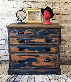 Industrial Distressed Chippy Chest of Drawers