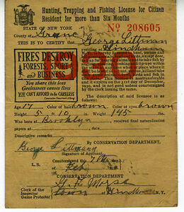 1930 hunting trapping amp fishing license from state of