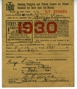 1930 hunting trapping amp fishing license from state of for New york fishing license online