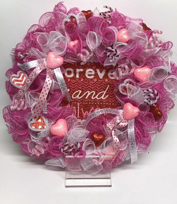 "17"" Valentines Love Forever & Always Wreath Hearts Pink Glitter Deco Mesh"